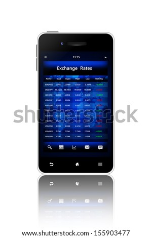 mobile phone with exchange rates screen isolated over white background - stock photo