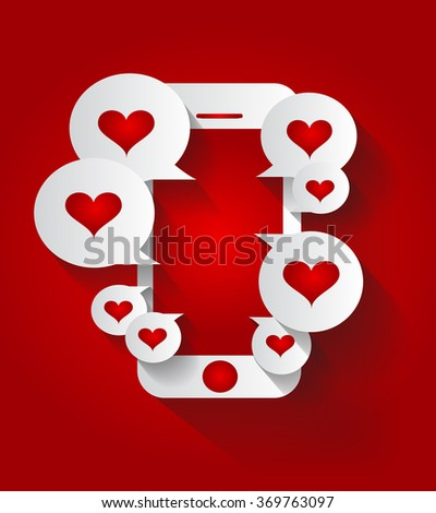 Mobile phone with heart icon red - stock photo
