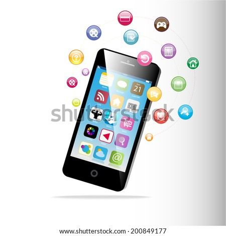 Mobile phone with icons. Raster version of vector - stock photo
