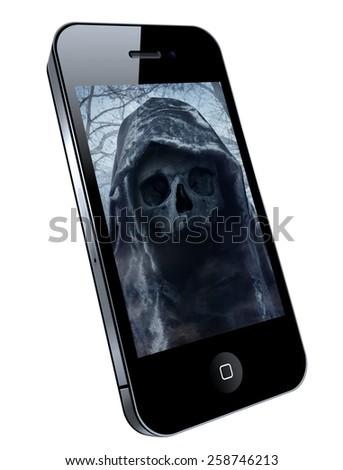 Mobile phone with image on the screen - dangerous hacker - stock photo
