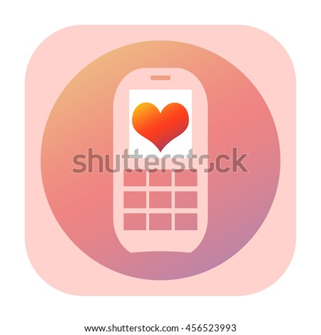 Mobile phone with love heart on the screen icon - stock photo