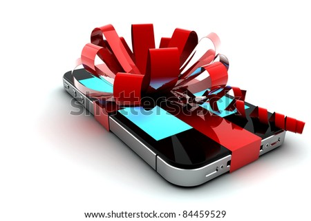 Mobile phone with red bow like a gift - stock photo