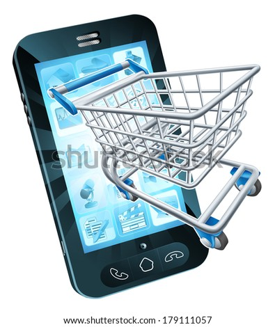 Mobile phone with shopping cart flying out, concept for shopping online or for apps or mobile phone - stock photo