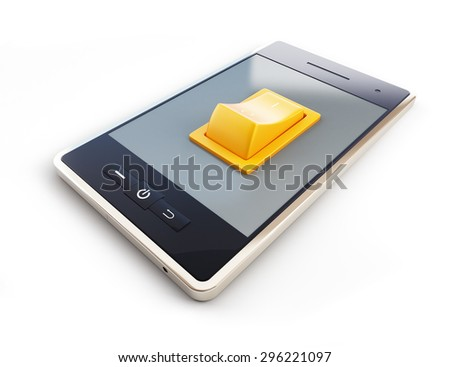 mobile phone with tumbler on white background - stock photo