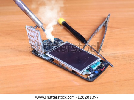 mobile phones  repair Area - stock photo