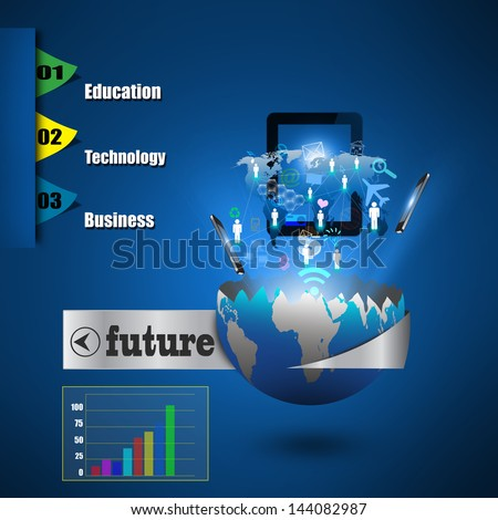 Mobile phones technology business concept, Creative network - stock photo