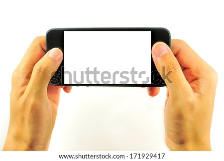 Mobile phones with a single split screen. - stock photo