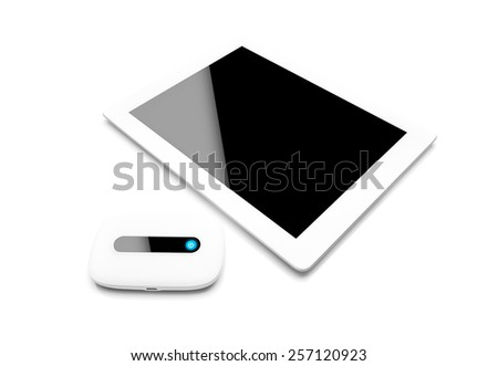 Mobile router with tablet pc. 3G or LTE network concept. On white background. - stock photo