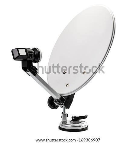 Mobile Satellite Dish Isolated on White Background - stock photo