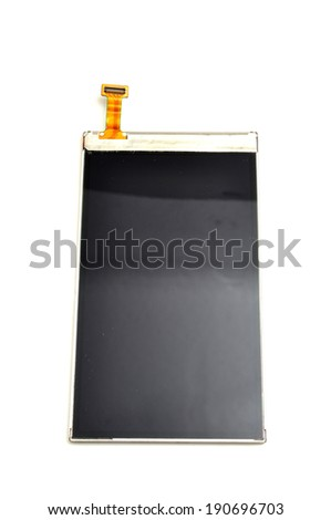 Mobile screen used for replacement faulty part - stock photo
