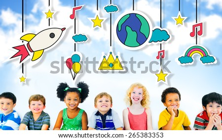 Mobile Sculpture Hanging Wind Chime Fun Concept - stock photo