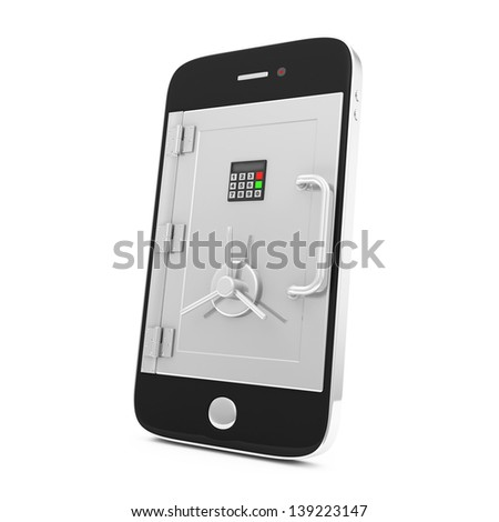 Mobile Security and Protection Concept. Smartphone with Safe Door isolated on white background - stock photo