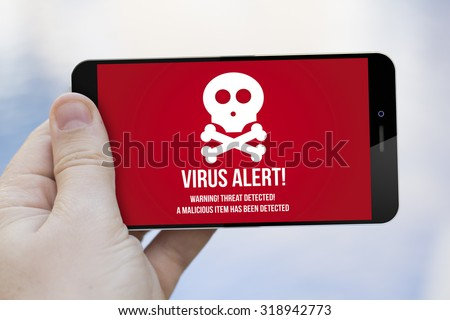 mobile security concept: hand holding an infected 3d generated smartphone. Screen graphics are made up. - stock photo