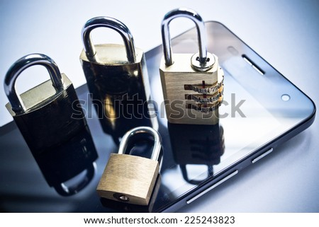 mobile security - smartphone data theft concept - stock photo