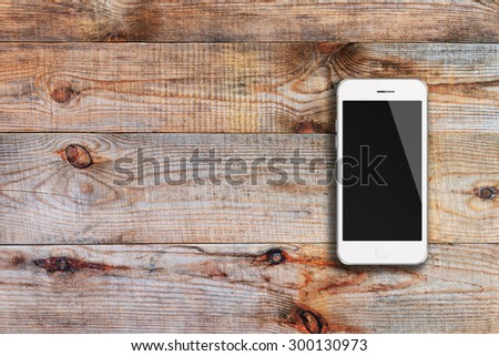 Mobile smart phone iphon style mockup with black screen on wooden background. Highly detailed illustration. - stock photo