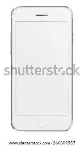Mobile smart phone iphon style mockup with white screen isolated on white background. Highly detailed illustration. - stock photo