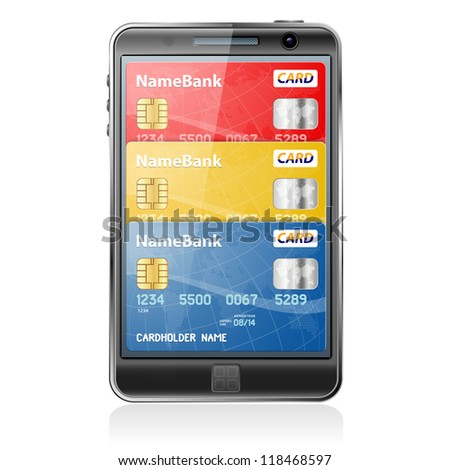 Mobile Smart Phone with Credit Cards. Internet Shopping and Electronic Payments Concept - stock photo