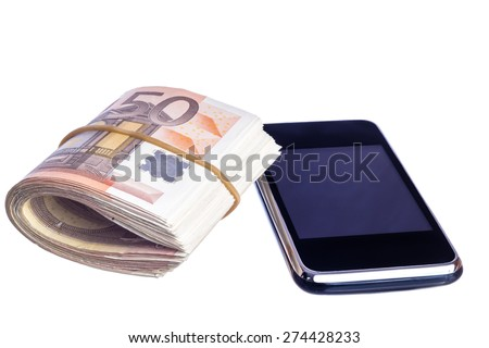 Mobile smart phone with fifty euro notes isolated on white background - stock photo