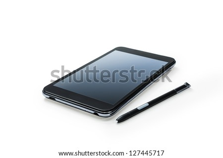 Mobile smart phone with touch pen. Isolated on white. - stock photo