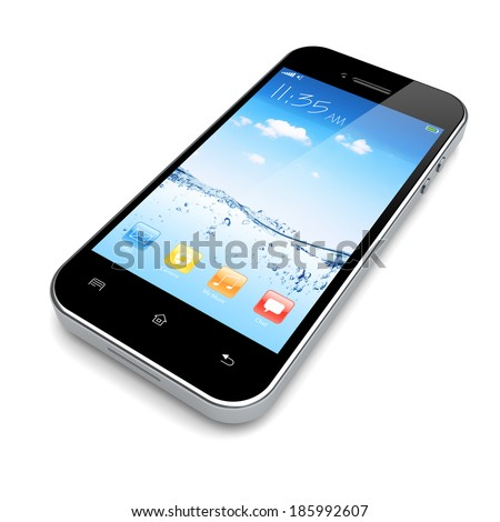 Mobile smart phone with water and sky wallpaper and colorful apps on a screen.  - stock photo