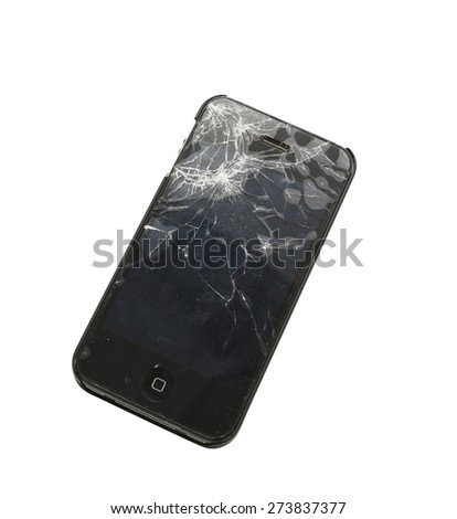 Mobile smartphone with broken screen isolated on white background with clipping path - stock photo