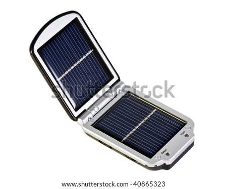 Mobile solar panel for charging phones and the rest of the equipment - stock photo