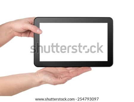 Mobile tablet in hands isolated on a white background - stock photo