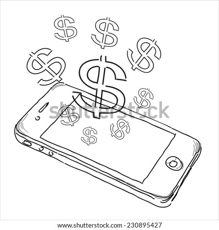 Mobile tariff and payment concept with money symbol for American Dollar - stock photo