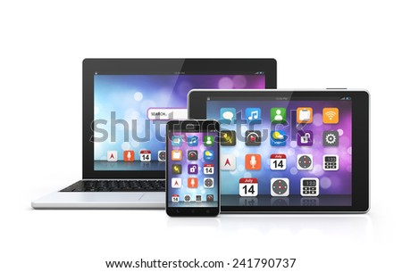 mobile technology laptop, smartphone, tablet isolated white background with clipping path - stock photo