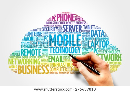 Mobile technology word cloud concept - stock photo