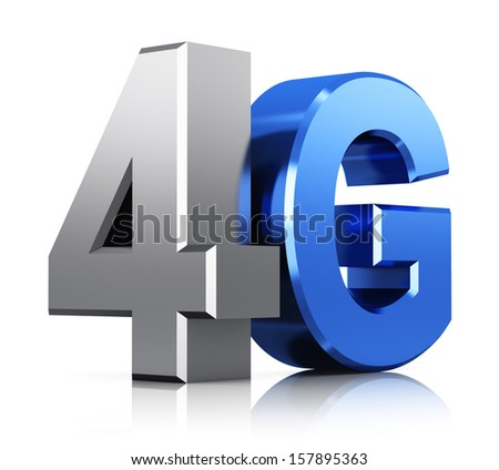 Mobile telecommunication cellular high speed data connection business concept: blue metallic 4G LTE wireless communication technology logo, symbol, icon or button isolated on white background - stock photo