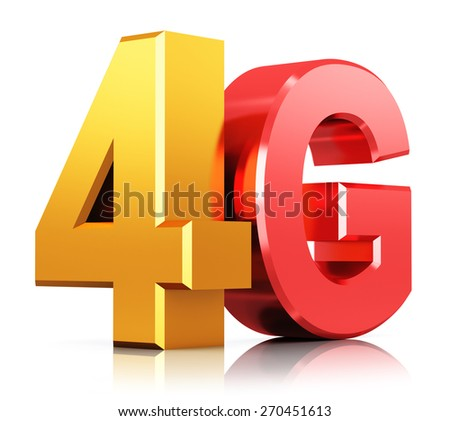 Mobile telecommunication cellular high speed data connection business concept: red and yellow metal 4G LTE wireless communication technology logo, symbol, icon or button isolated on white background - stock photo