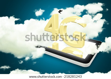 Mobile telecommunication cellular high speed data connection concept: 4G wireless communication technology logo, symbol, icon or button on touchscreen smartphone with interface - stock photo