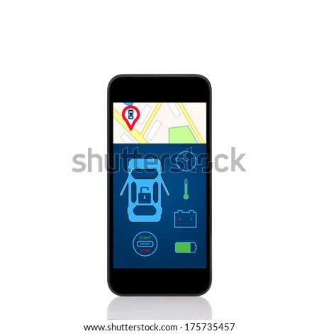 mobile touch phone with car alarm interface on a screen  - stock photo