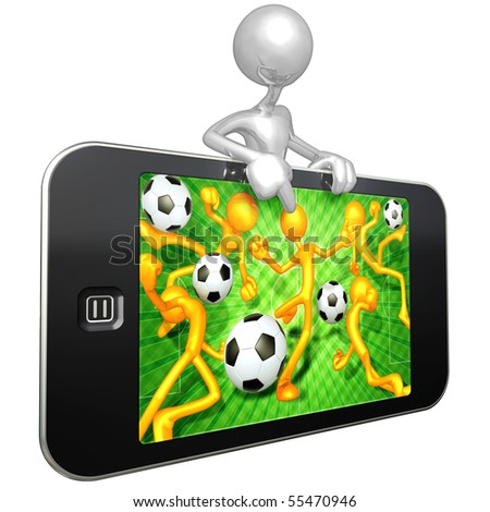 Mobile Touch Screen Device Soccer - stock photo