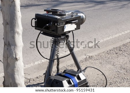 Mobile traffic radar located in an urban street - stock photo