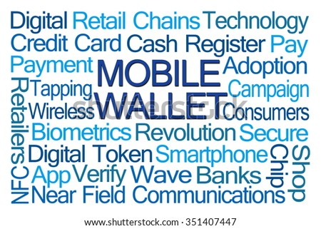 Mobile Wallet Word Cloud on White Background - stock photo