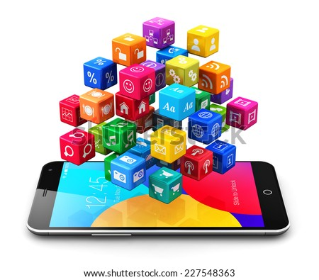 Mobile web applications, business software and social media networking service internet concept: modern black touchscreen smartphone with cloud of color application icons isolated on white background - stock photo