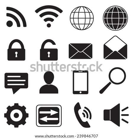 Mobile, web, phone connection and communication icons set. Contact Icons for internet and mobile apps.  - stock photo
