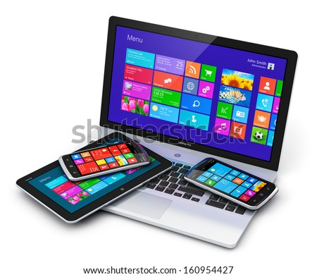 Mobility and business telecommunication technology concept: touchscreen devices - office laptop or notebook, tablet computer PC and black glossy smartphone or mobile phone isolated on white background - stock photo