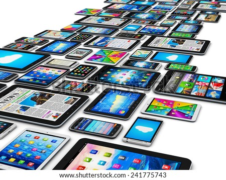 Mobility and digital wireless communication technology business concept: group of tablet computers and smartphones or mobile phones with color screen interfaces with icons isolated on white background - stock photo