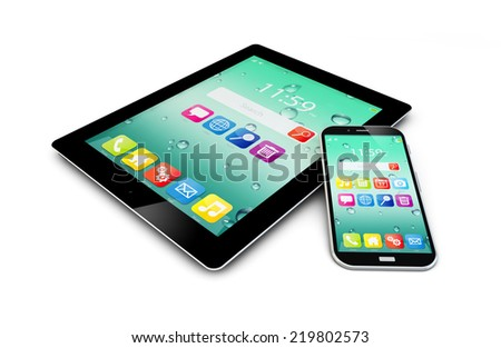 Mobility and modern wireless telecommunication technology concept: tablet computer PC and metal black glossy touchscreen smartphone with colorful interface on the screen isolated on white background - stock photo