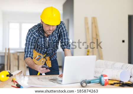 Mobility construction worker on workplace  - stock photo