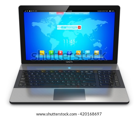 Mobility PC computer web technology and internet communication concept: 3D illustration of business laptop or office notebook with screen interface with application icons and buttons isolated on white - stock photo