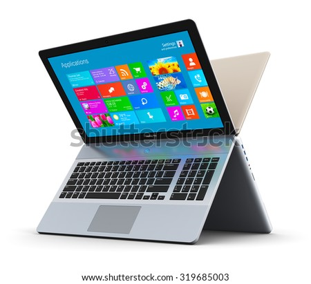 Mobility PC computer web technology and internet communication concept: two laptops or notebooks with color screen interface with application icons and app buttons forming letter X isolated on white - stock photo