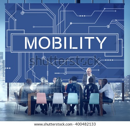 Mobility Technology Online Communication Concept - stock photo