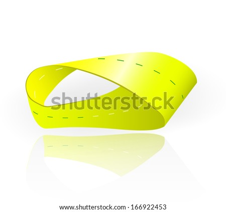 Mobius strip a continuous surface that has only one side and one edge. Moebius loop has the mathematical property of being non-orientable. - stock photo