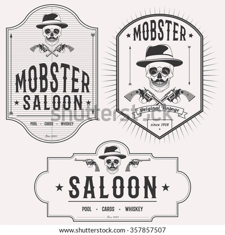Mobster saloon isolated logo set emblems, badges and design elements on white background - stock photo