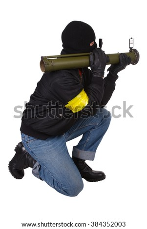 mobster with bazooka grenade launcher isolated on white background - stock photo