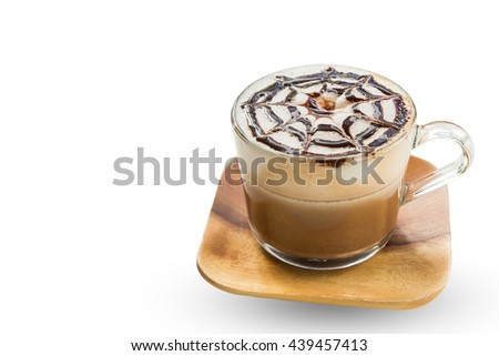 Mocha coffee (also called Caffe Mocha) with wooden saucer isolated on white background. Interior coffee shop. Main ingredients of mocha is chocolate, espresso, hot milk. Clipping path inside. - stock photo
